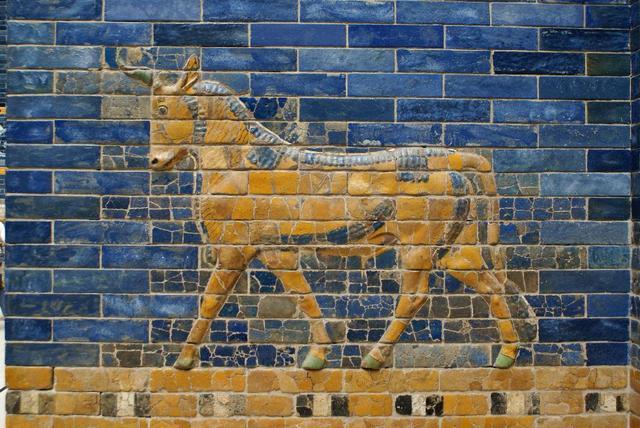 krowa, niebieski i żółty, starożytna sztuka sumeryjska, opowiadanie