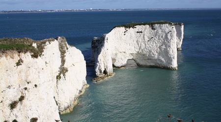 Old Harry Rocks, w tle Bournemouth